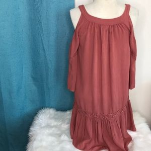 Knox Rose Tops - Knox Rose cold shoulder tunic top rust  orange XS